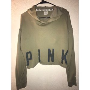 VS PINK army green cropped sweater